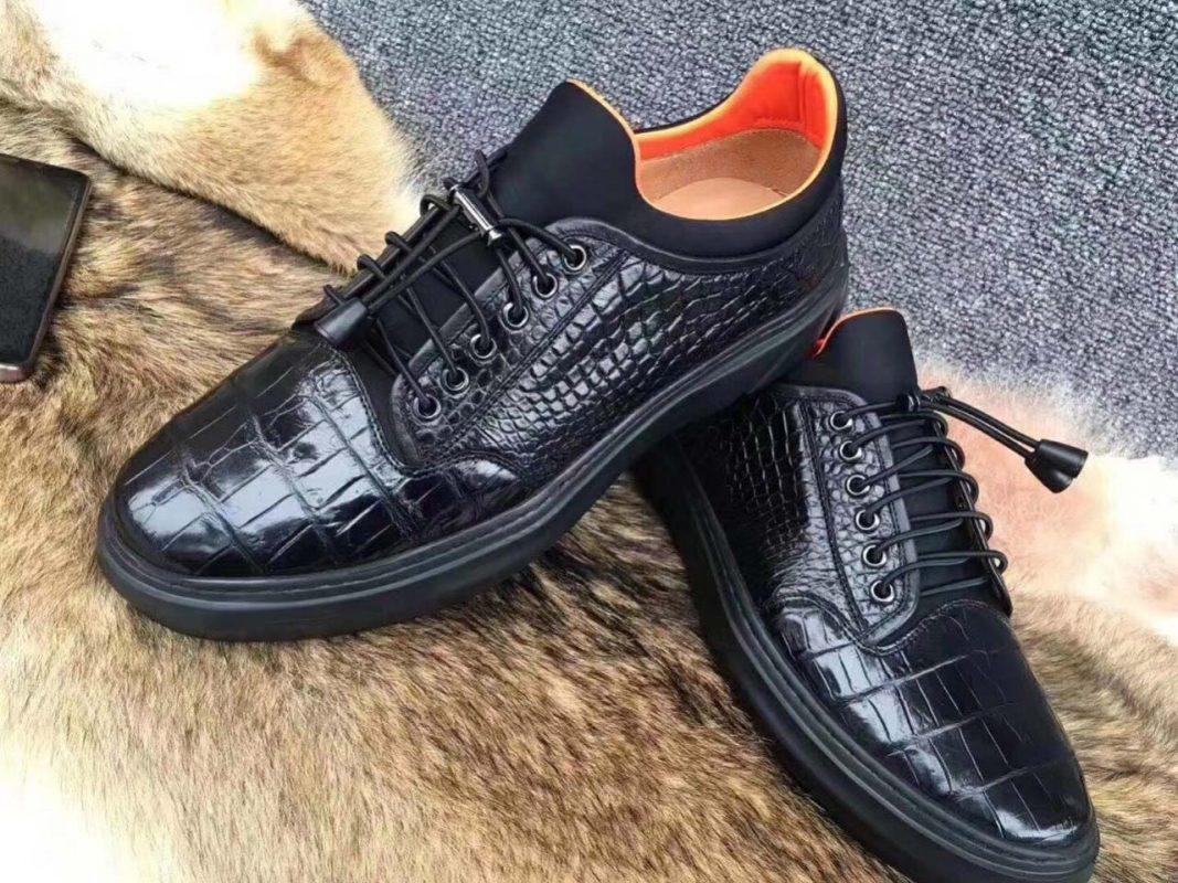 Giày thể thao snearker da cá sấu