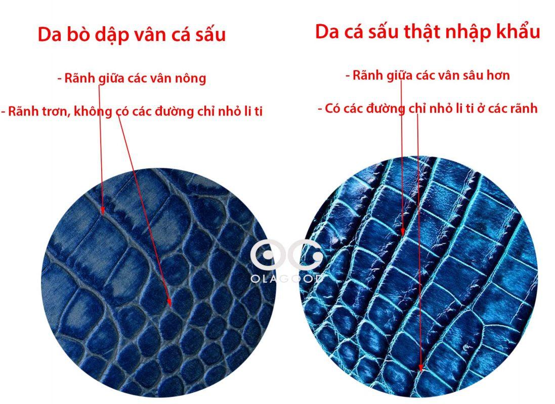 <em>Hướng dẫn phân biệt giữa da cá sấu thật và da bò dập vân cá sấu</em>