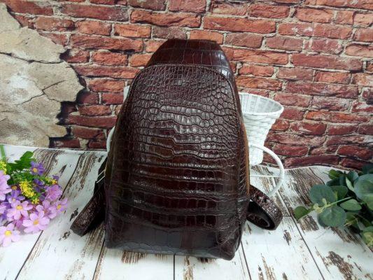 Balo nữ da cá sấu trơn hai dây màu nâu đất – BLNT028S